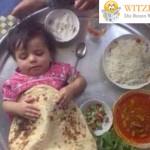 Baby schläft inmitten Essen