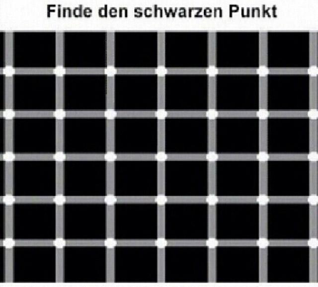 einen schwarzen punkt sehen